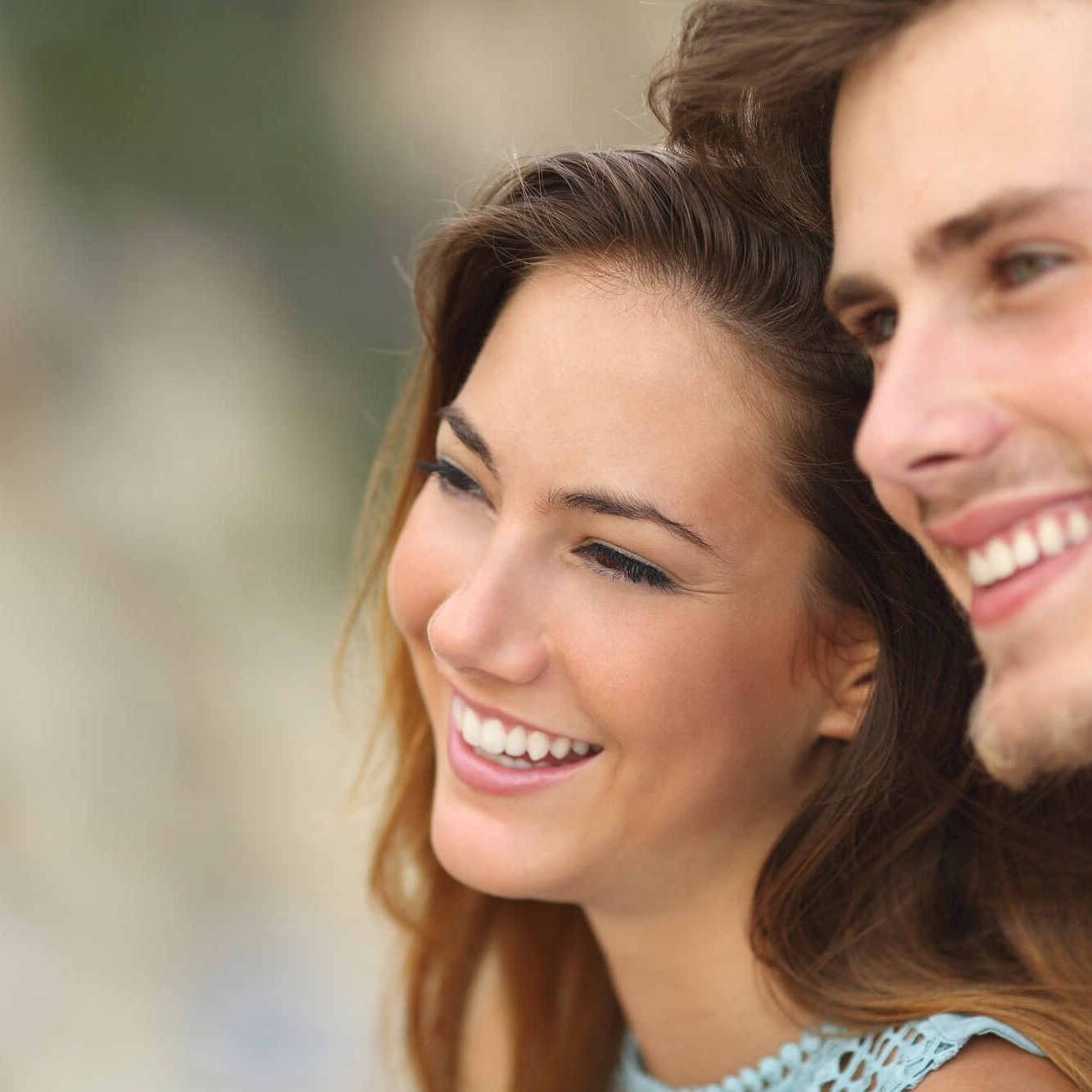Smiling couple with beautiful teeth